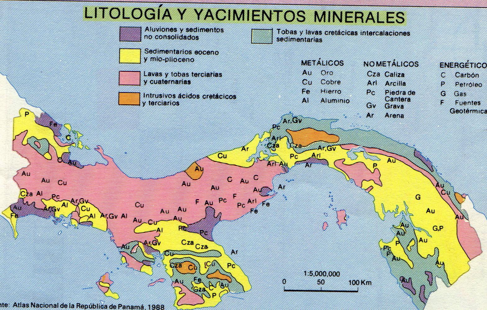 Panama´s Lithology & Mineral Deposits Map