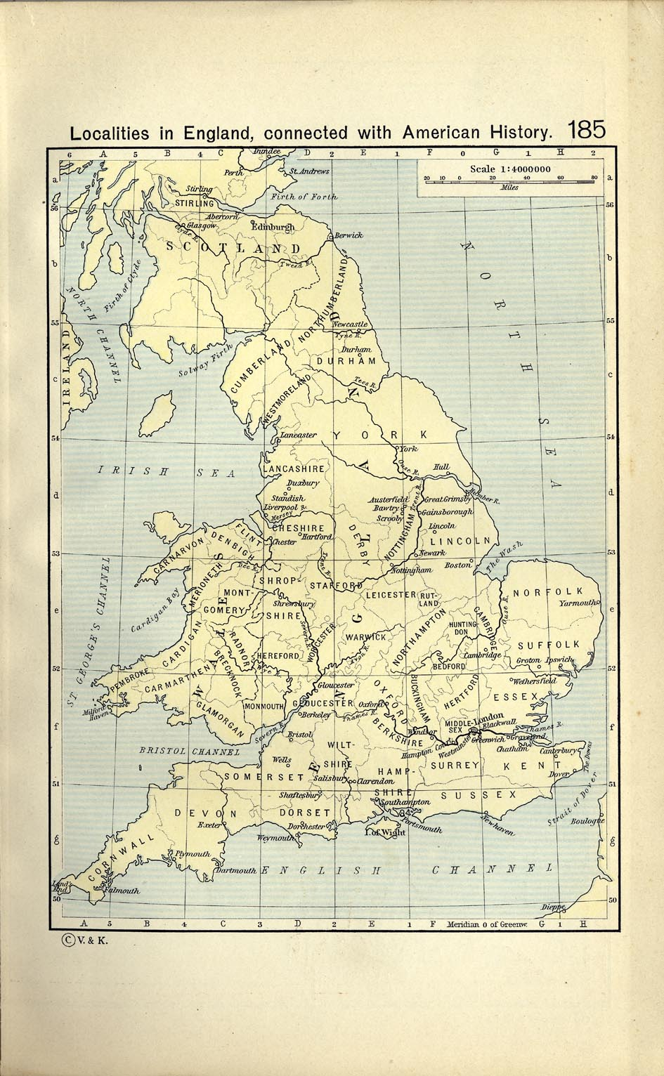Mapa de Localidades en Ingleterra Conectadas con la Historia Americana 1911