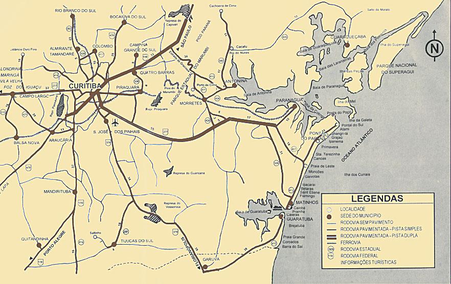 Mapa de Localización, Accesos y Ubicación de Curitiba, Brasil