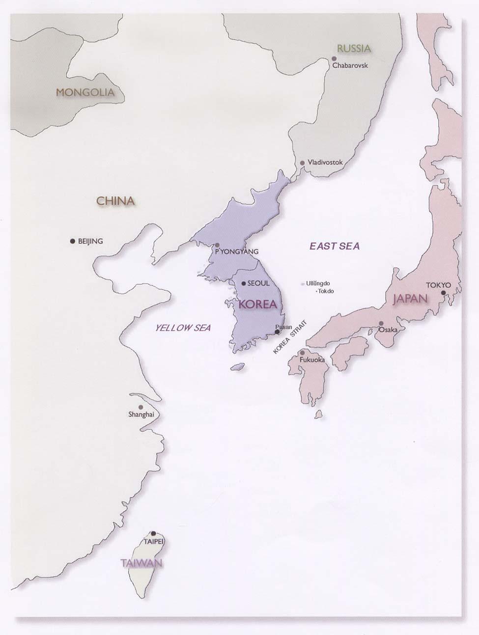 Mapa de Localización de la Península de Corea