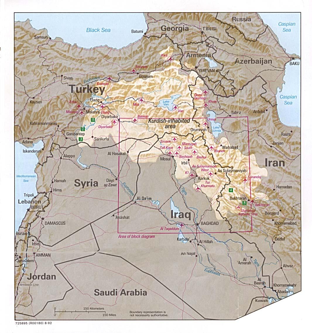Mapa de Localización de las Tierras Kurdas