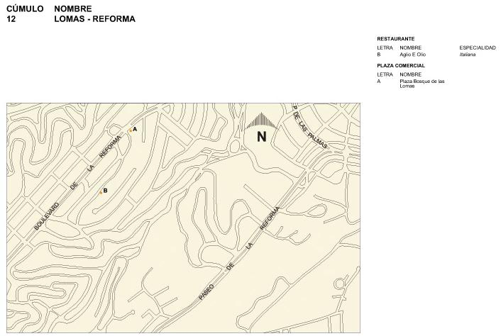 Mapa de Lomas-Reforma, Mexico D.F.