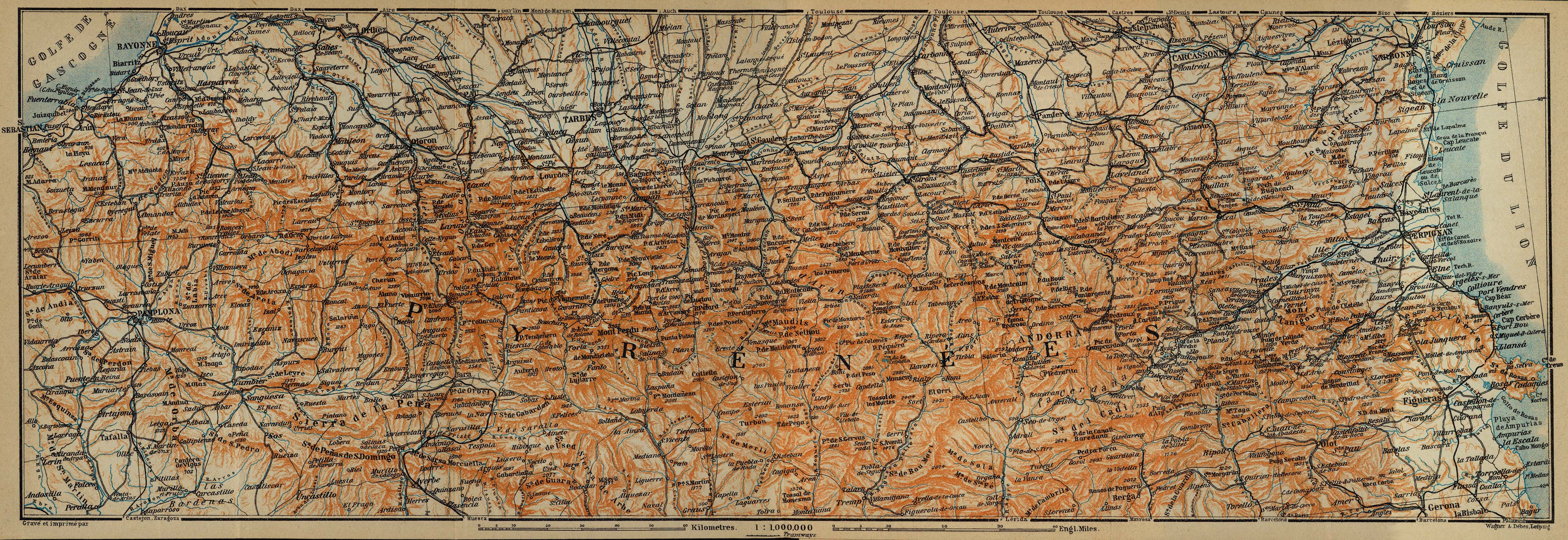 The Pyrenees Map, France 1914