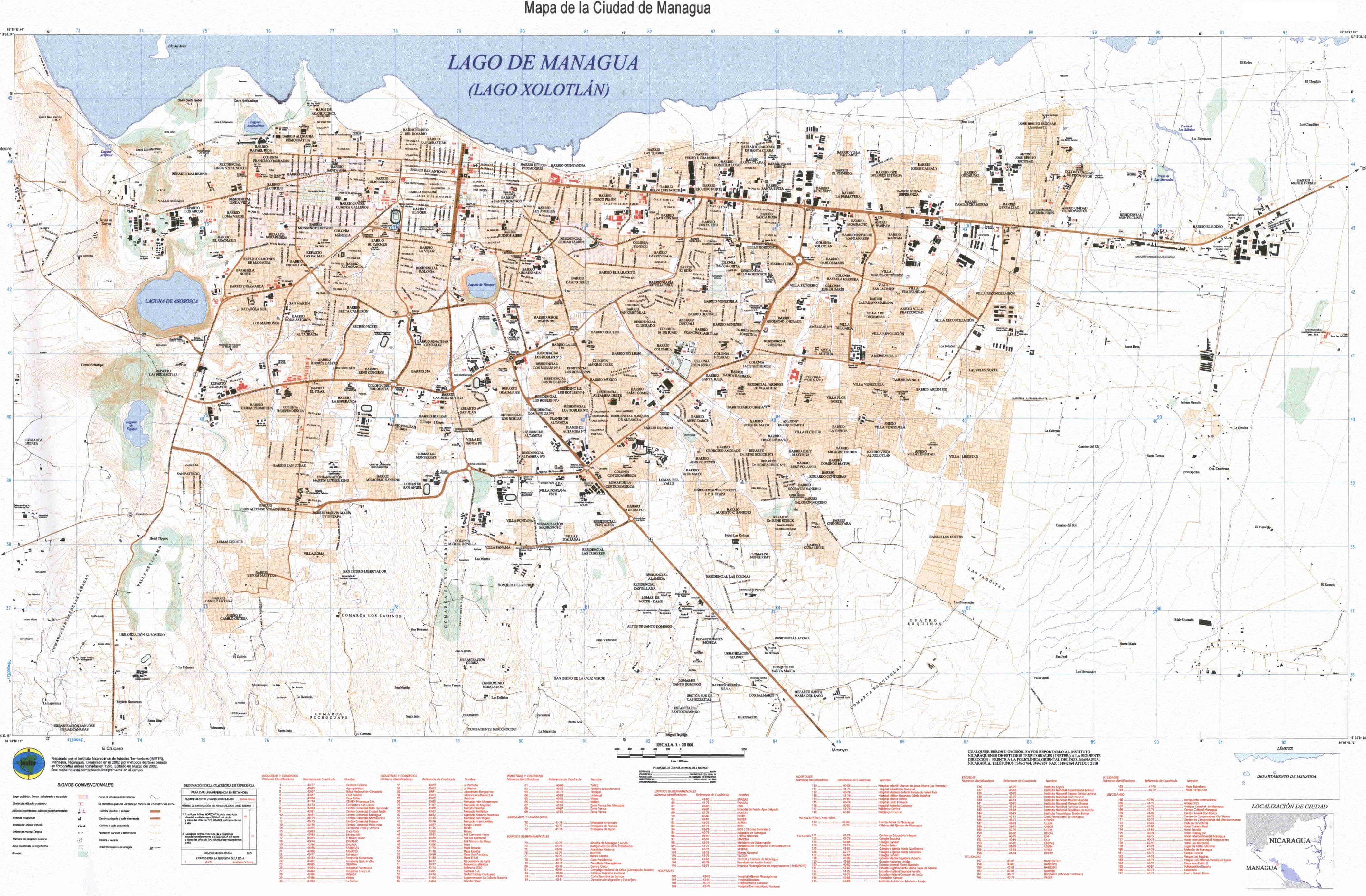 Managua Large Scale Map, Nicaragua
