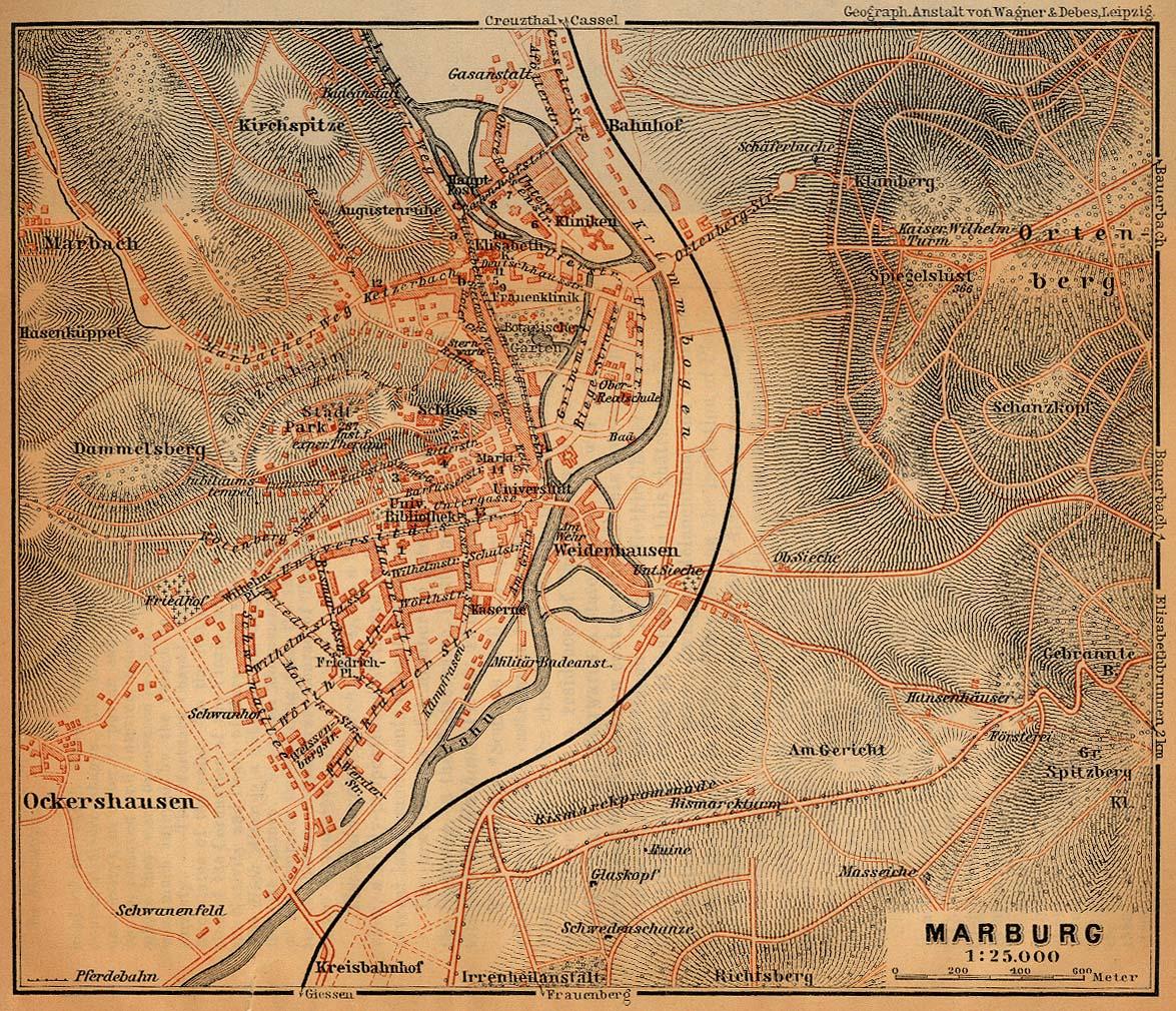 Marburg Map, Germany 1910