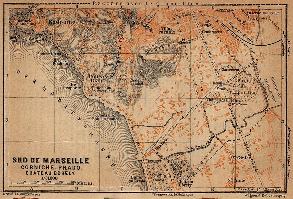 Mapa de Marsella (Parte Sud), Francia 1914