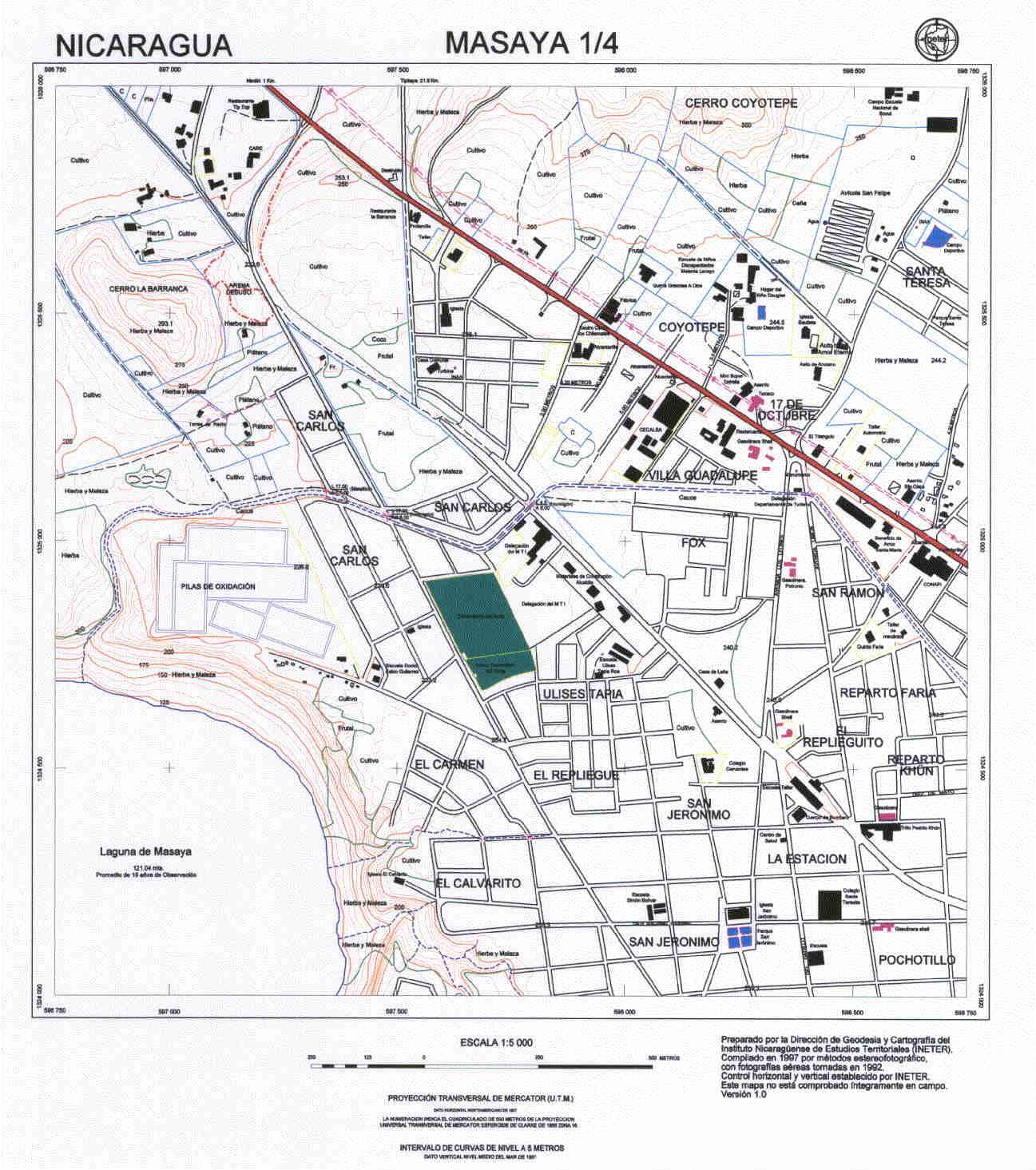 Masaya Northwest Quadrant Map, Nicaragua