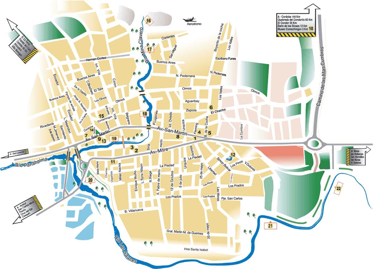 Mapa de Mina Clavero, Prov. Córdoba, Argentina