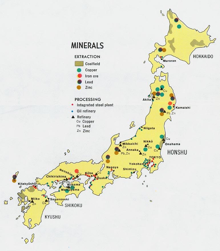 Mapa de Minerales de Japón