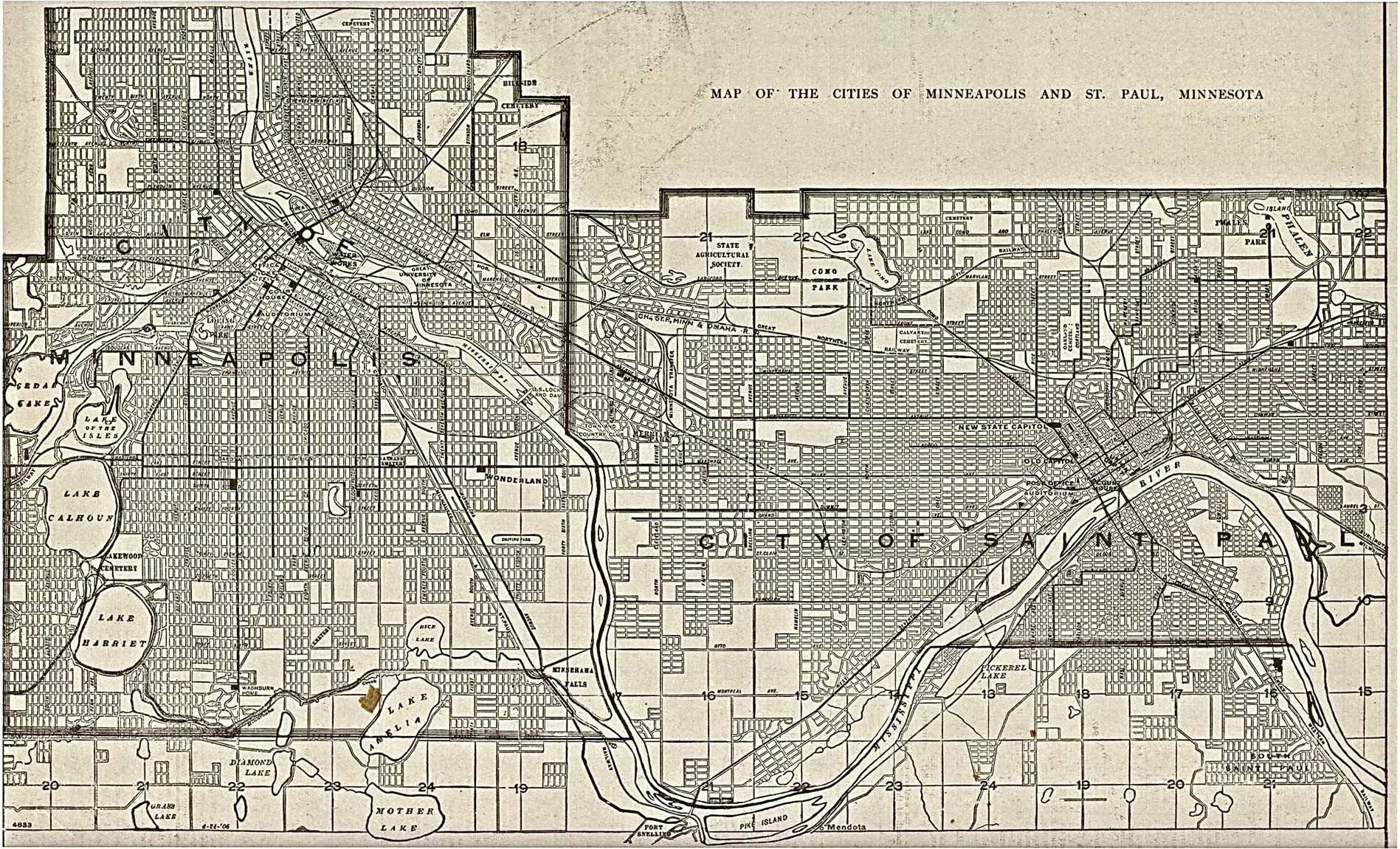 Minneapolis Map, Minnesota, United States 1906