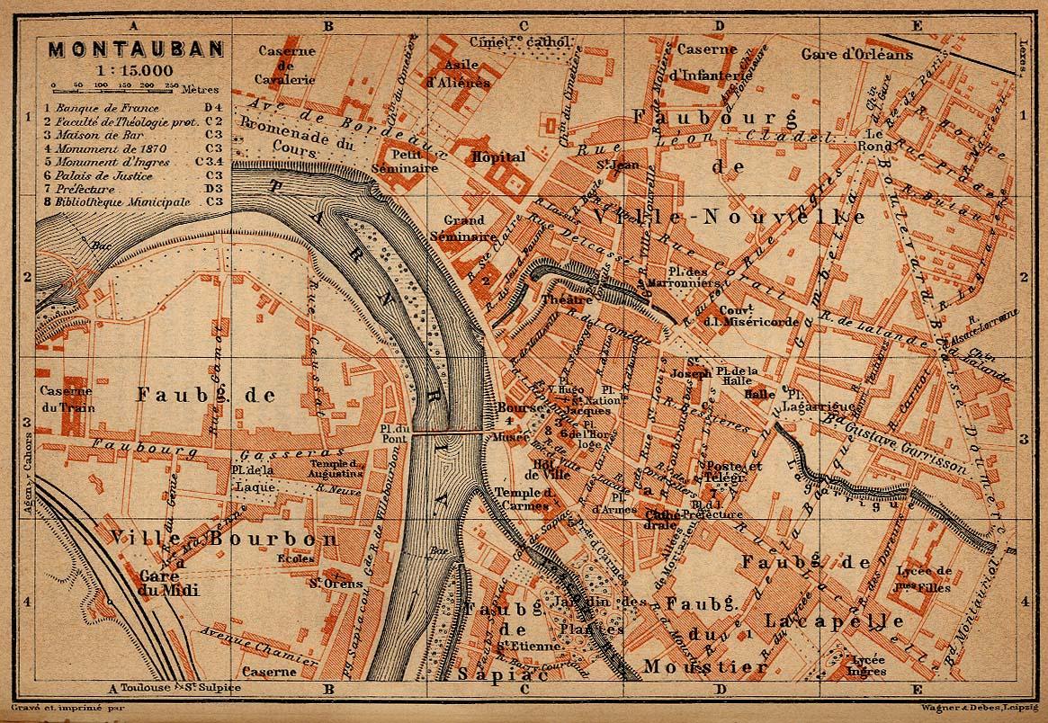 Mapa de Montauban, Francia 1914
