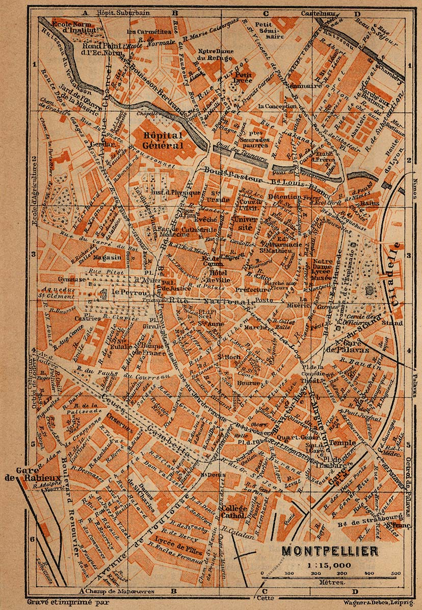 Montpellier Map, France 1914