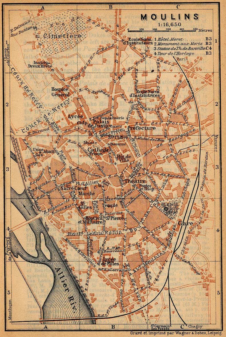 Moulins Map, France 1914
