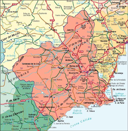 Map, Murcia Autonomous Community, Spain