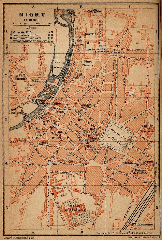 Niort Map, France 1914