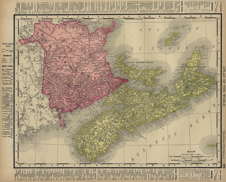 Mapa de Nueva Escocia, Nuevo Brunswick, Isla del Príncipe Eduardo, Canadá 1895