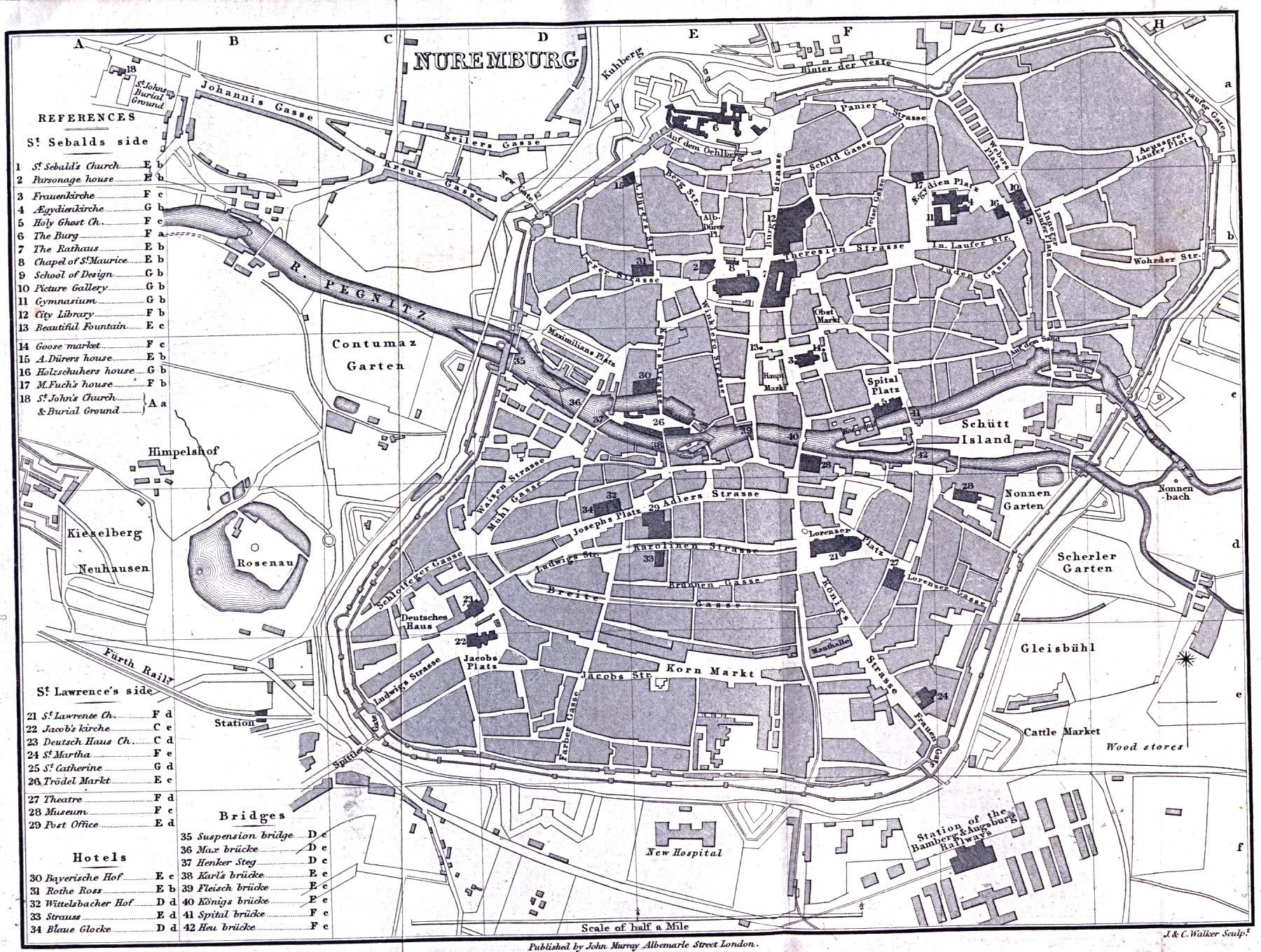 Nuremberg Map, Germany 1858