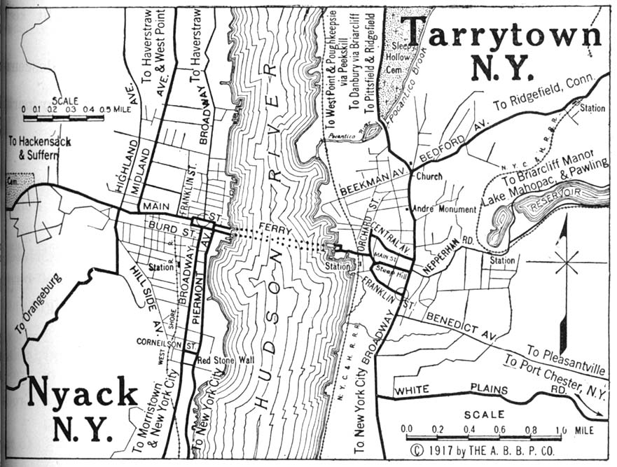 Nyack and Tarrytown Map, New York, United States 1917