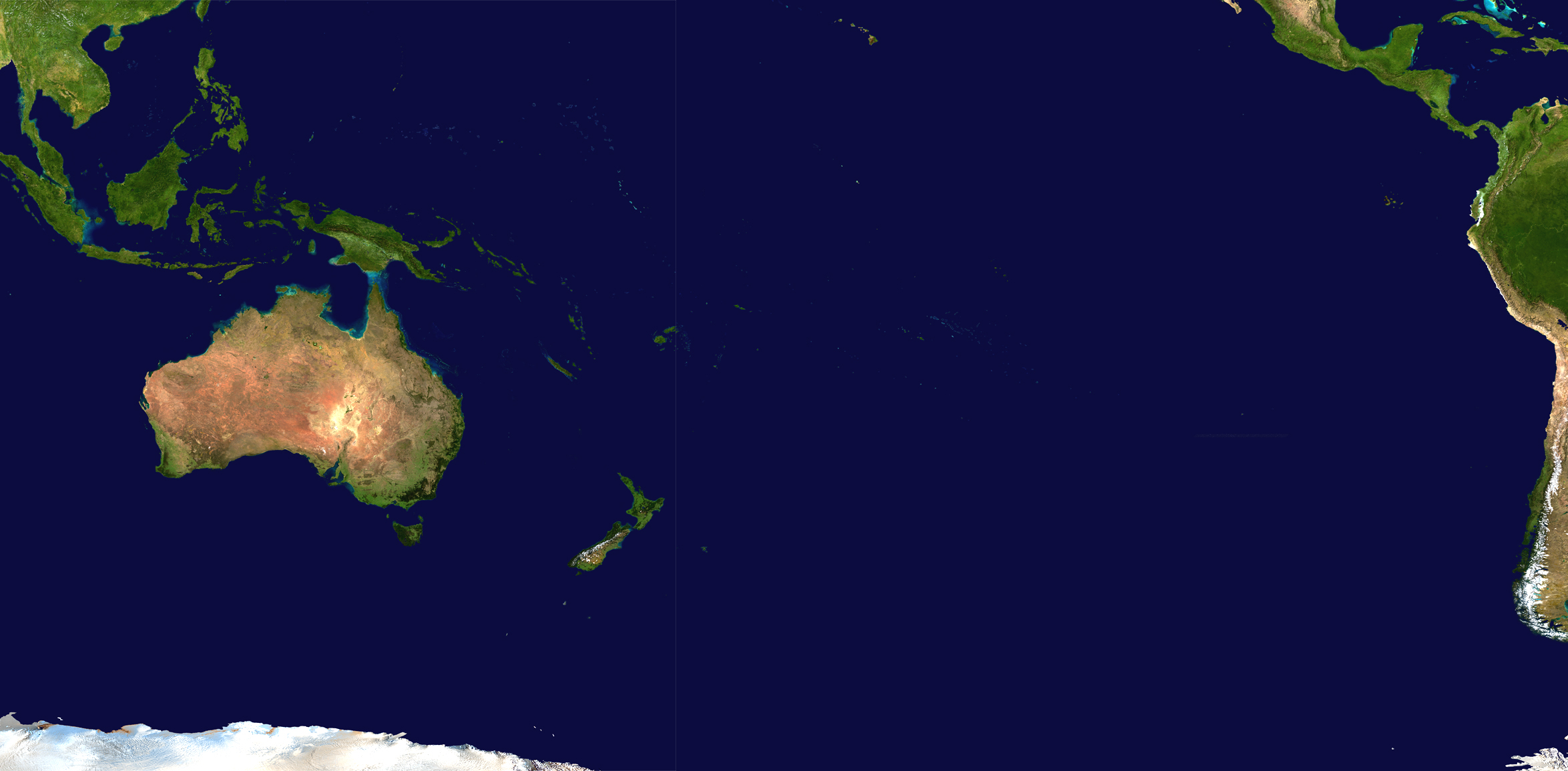 Oceania satellite map