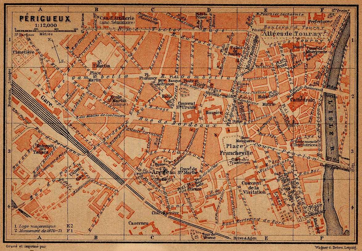 Mapa de Périgueux, Francia 1914