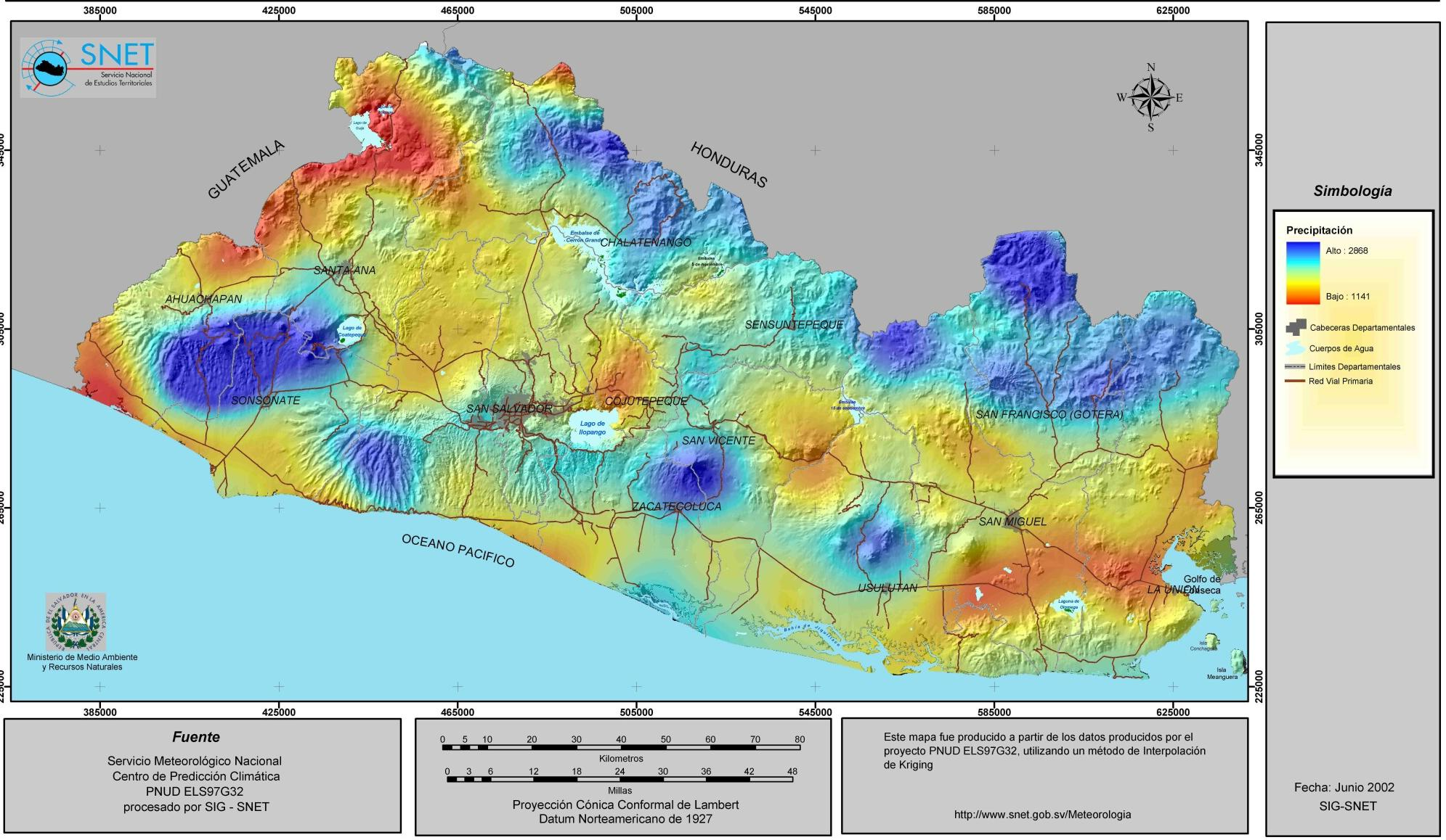 El Salvador Rainfall Map