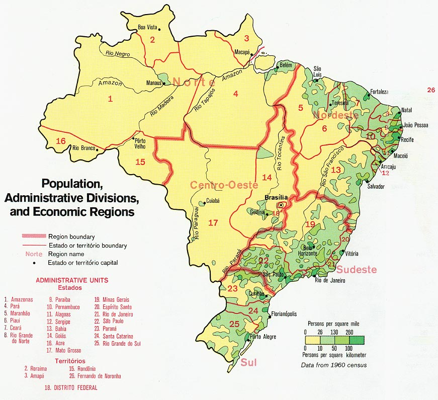 Brazil Population, Administrative Divisions and Economic Regions