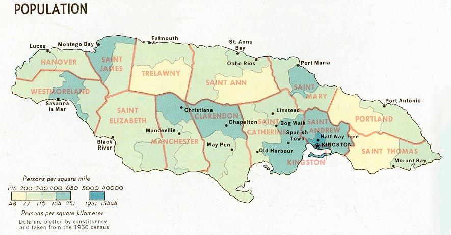 Mapa de Población Jamaica