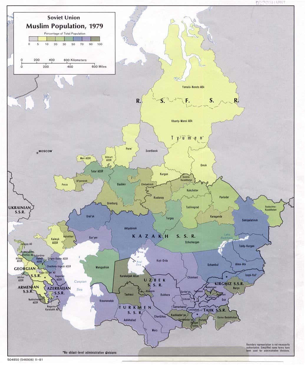 Mapa de Población Musulmán de la ex Unión Soviética