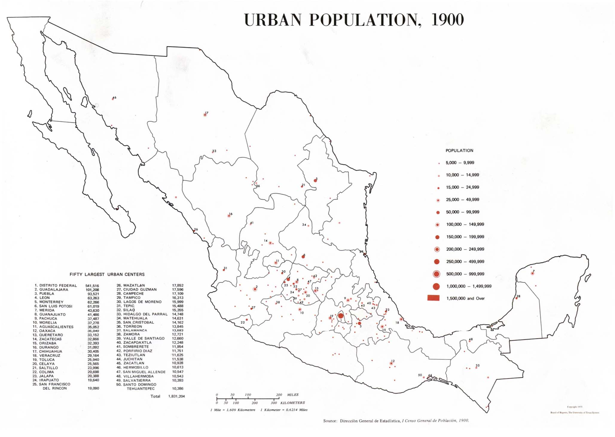Urban Population Map, Mexico 1900