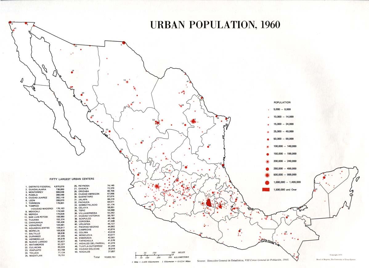 Mapa de Población Urbana de México 1960