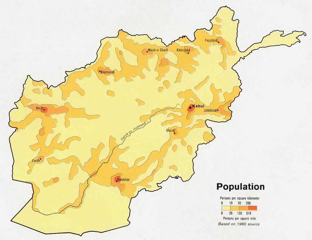 Mapa de Población de Afganistán