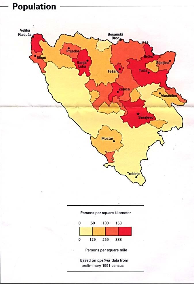 Mapa de Población de Bosnia y Herzegovina