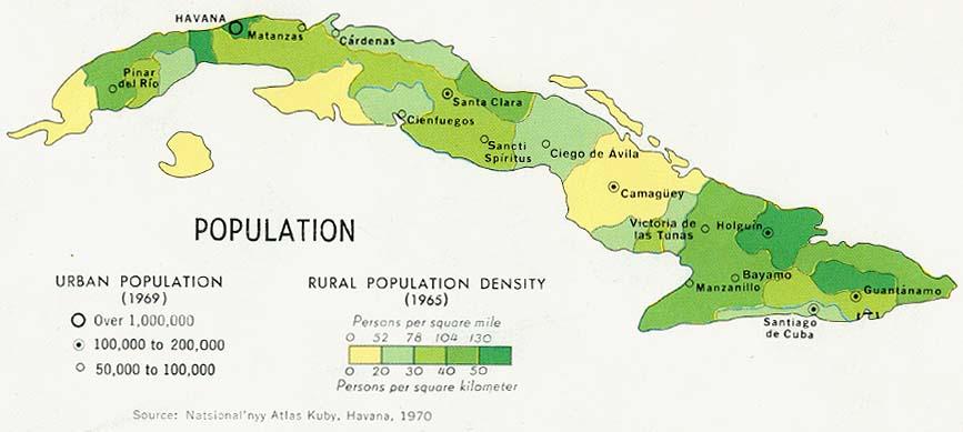 Mapa de Población de Cuba