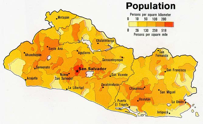 El Salvador Population Map