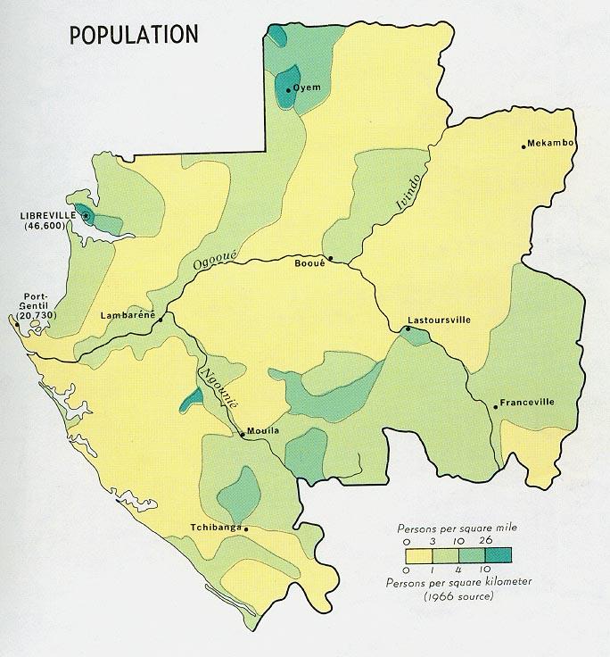 Mapa de Población de Gabón