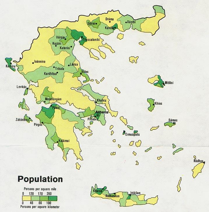 Mapa de Población de Grecia