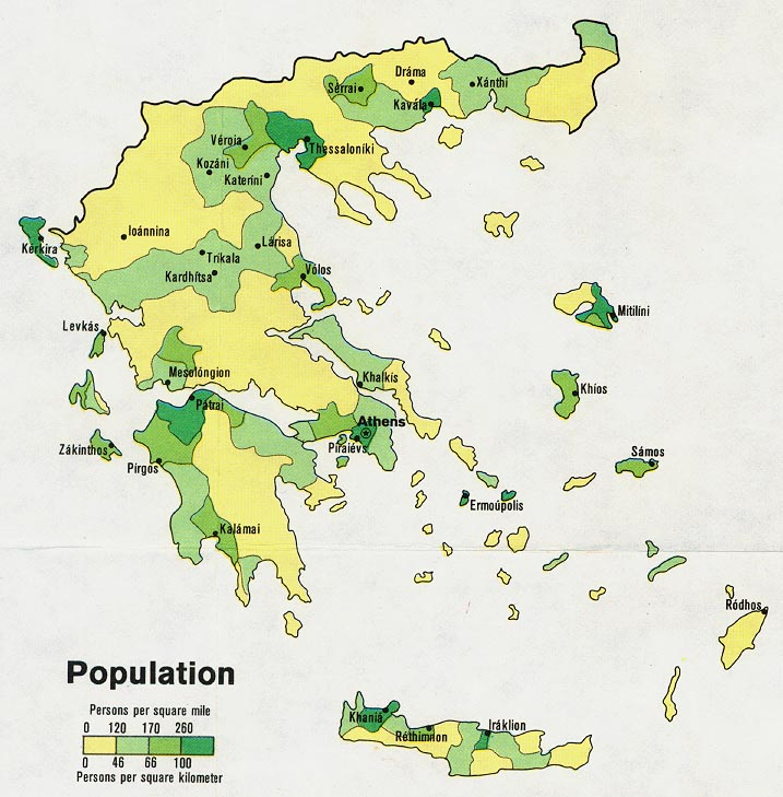 Greece Population Map