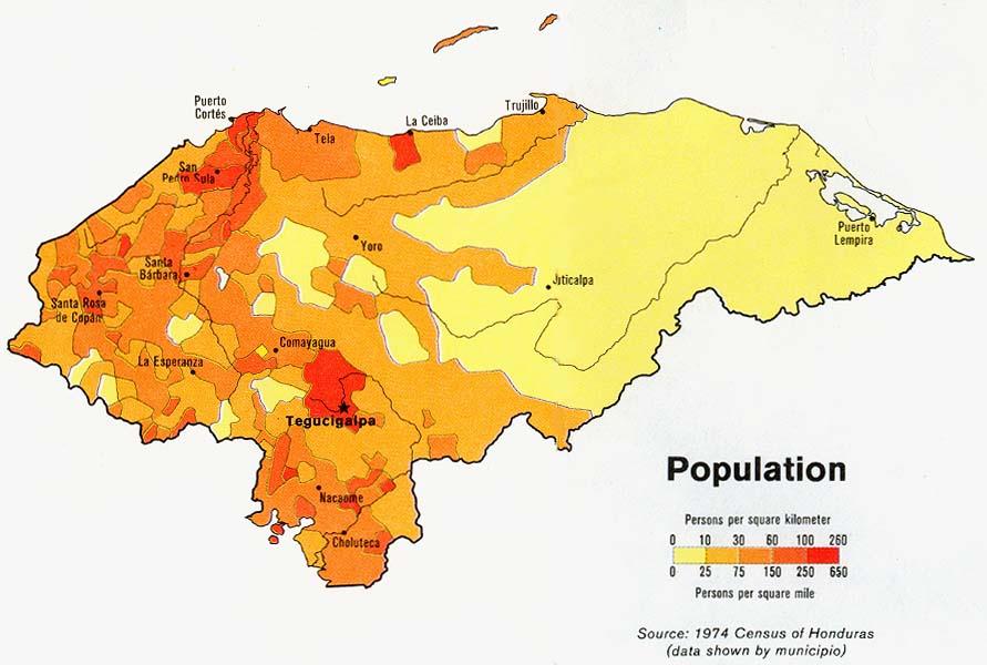 Honduras Population Map