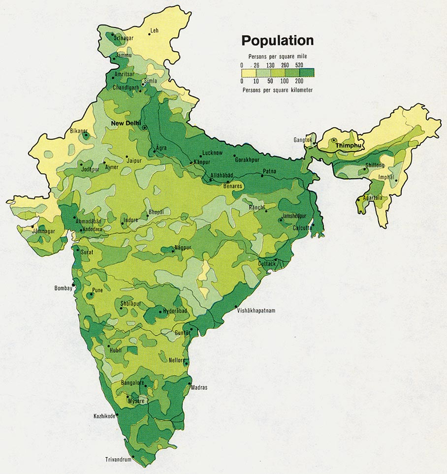Mapa de Población de India