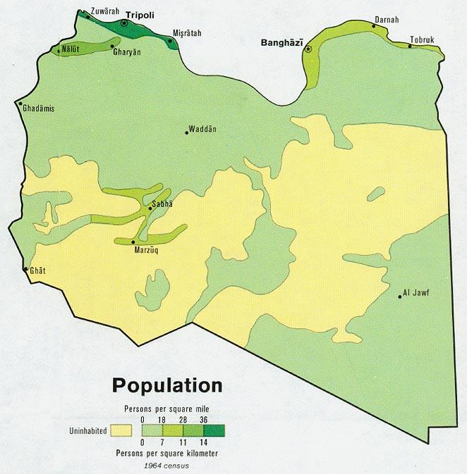 Mapa de Población de Libia