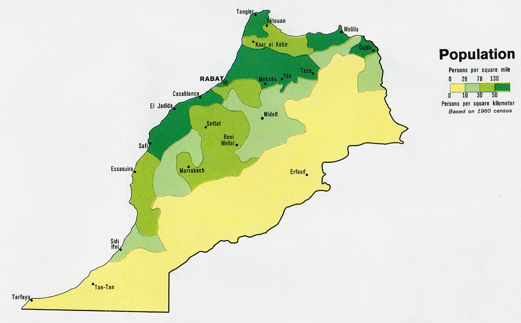 Mapa de Poblaci贸n de Marruecos