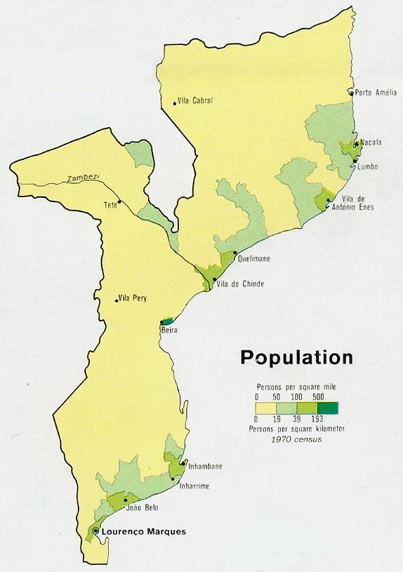 Mapa de Población de Mozambique