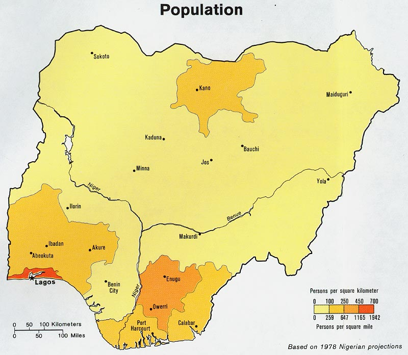 Mapa de Poblaci贸n de Nigeria
