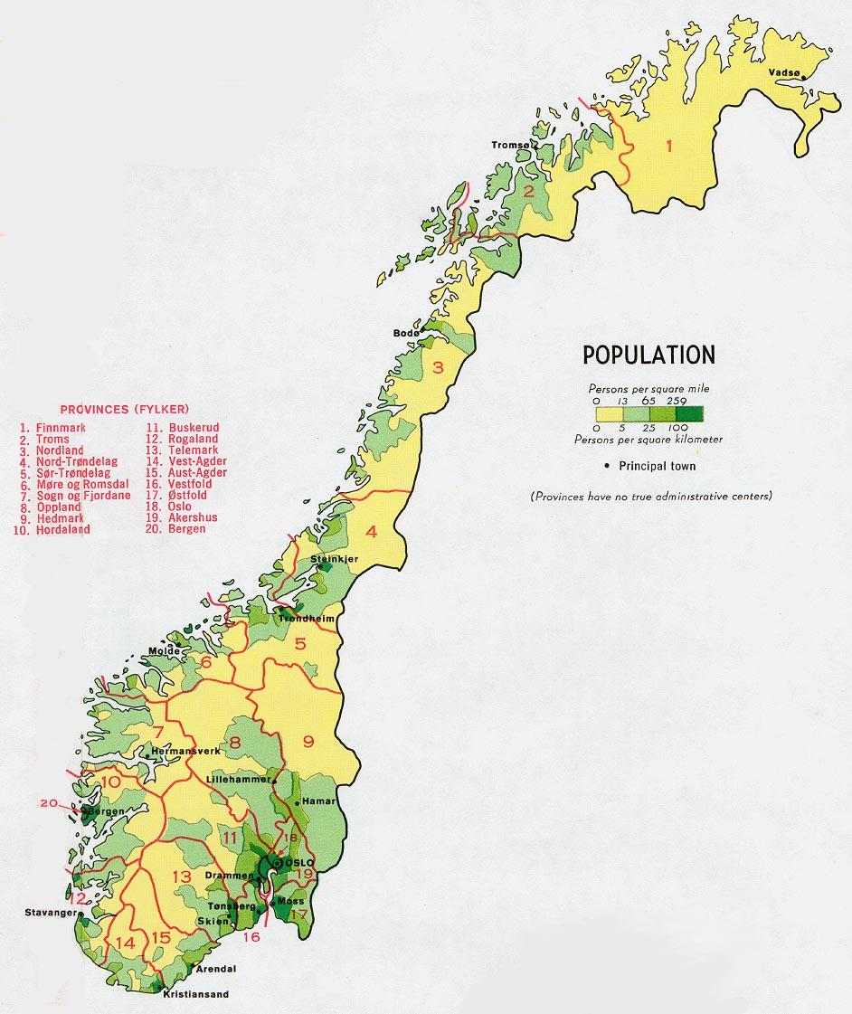 Mapa de Población de Noruega
