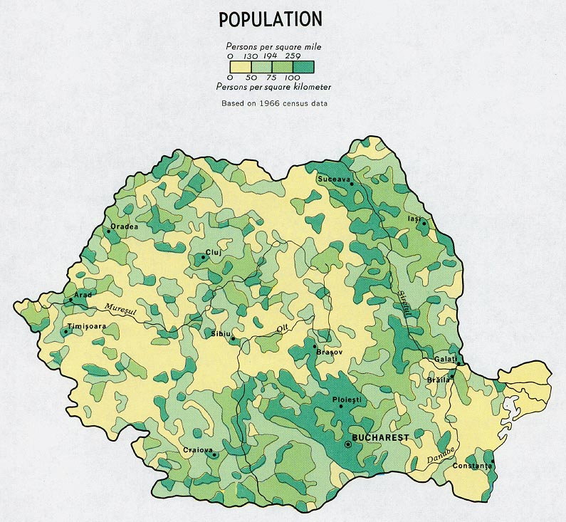Romania Population Map