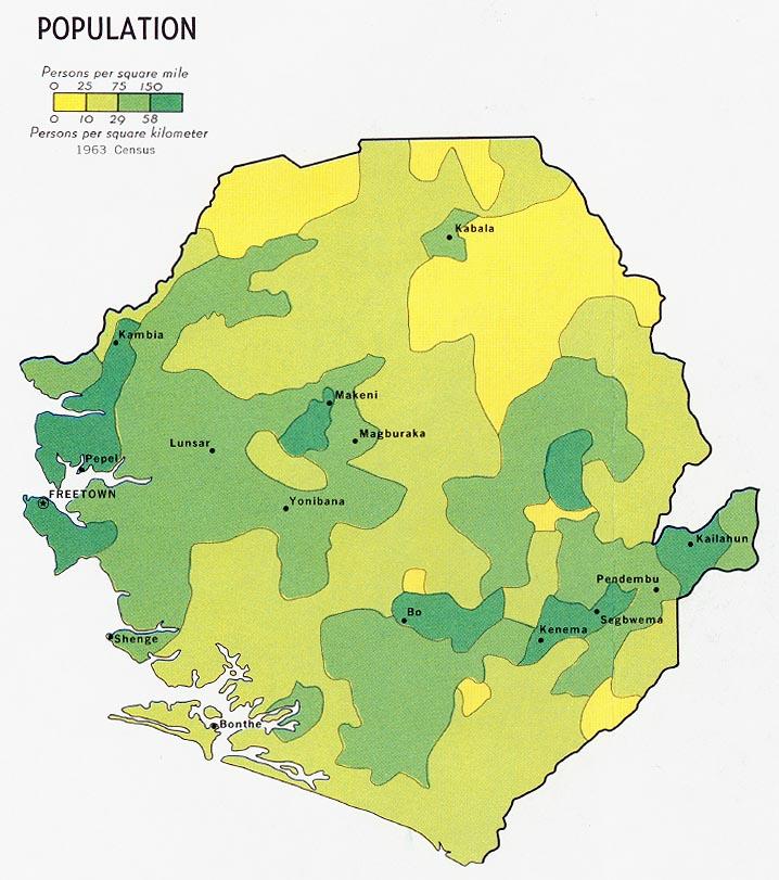 Mapa de Población de Sierra Leona