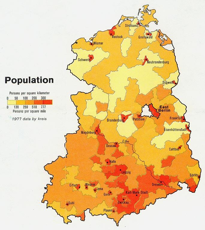 Mapa de Población de la Ex Alemania del Este 1981