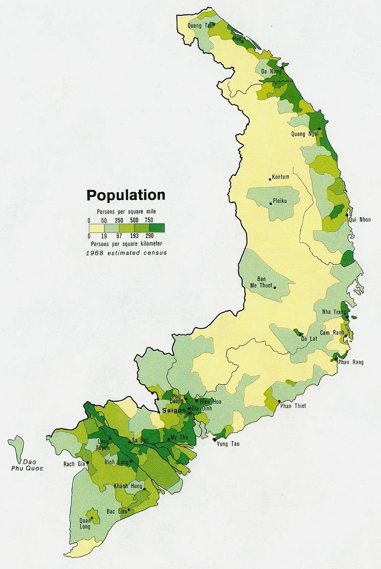 Former South Vietnam Population Map 1972