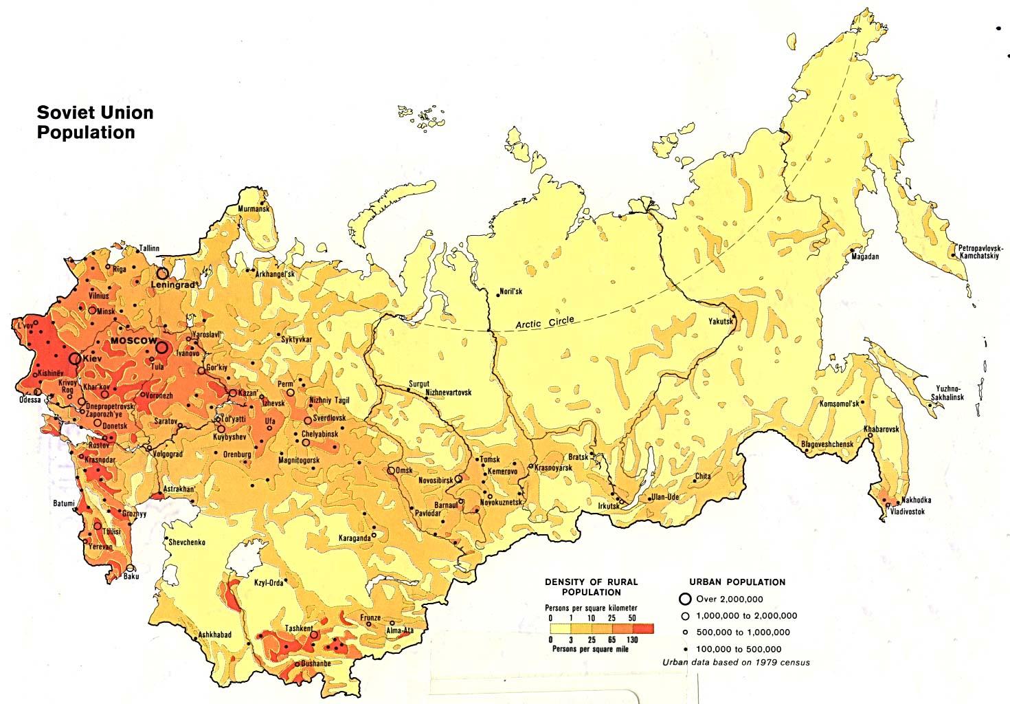 Mapa de Población en la ex Unión Soviética