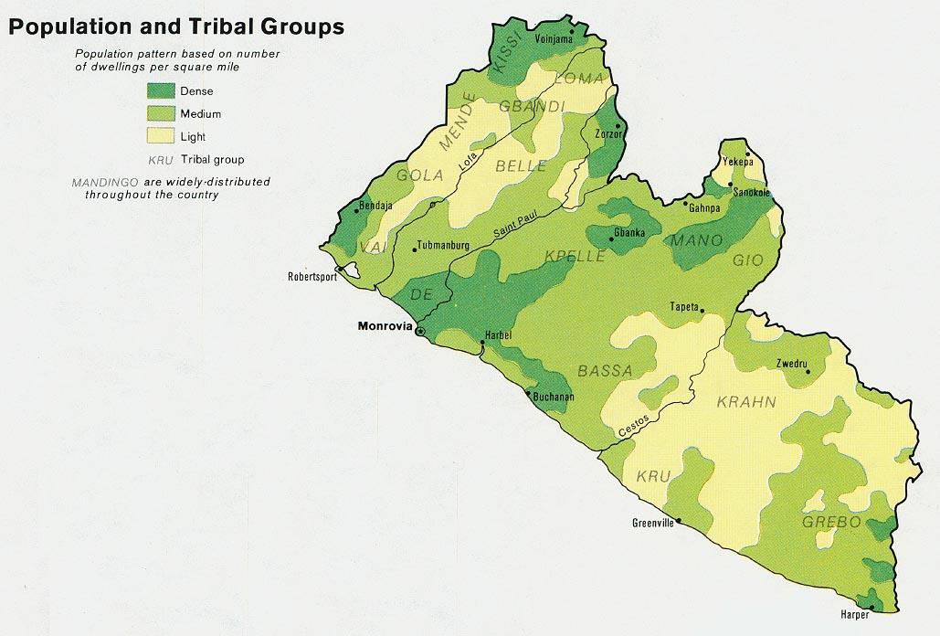 Mapa de Población y Grupos Tribales de Liberia